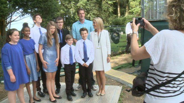 CBBC show 'The Big Performance' stars posing for photograph