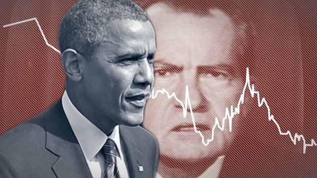 Photo illustration of presidents Obama and Nixon