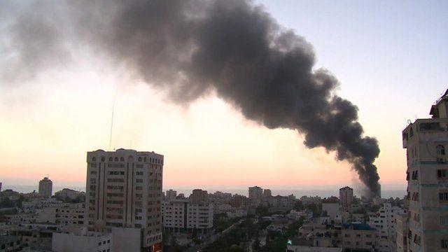 Smoke from a blast in Gaza