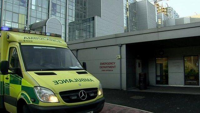 Ambulance outside A&E department