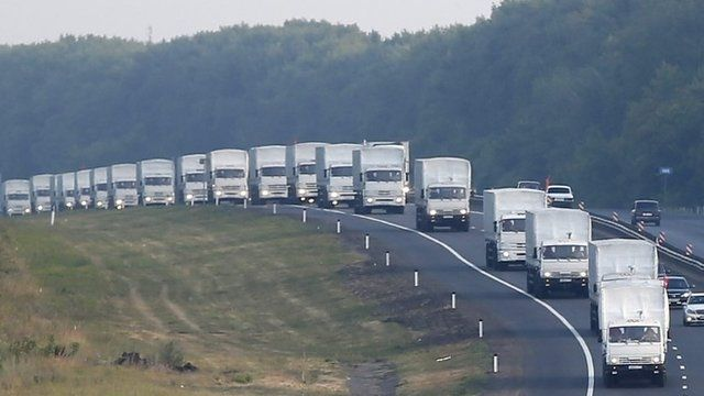 A Russian convoy of lorries