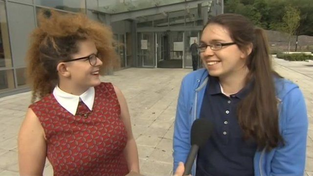 Coleg Gwent students Bronwen and Isabella celebrate their A-level results