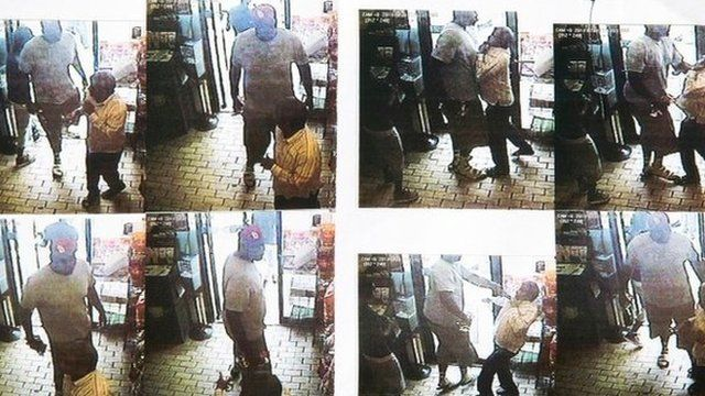 A series of CCTV pictures showing a robbery in a store in Ferguson