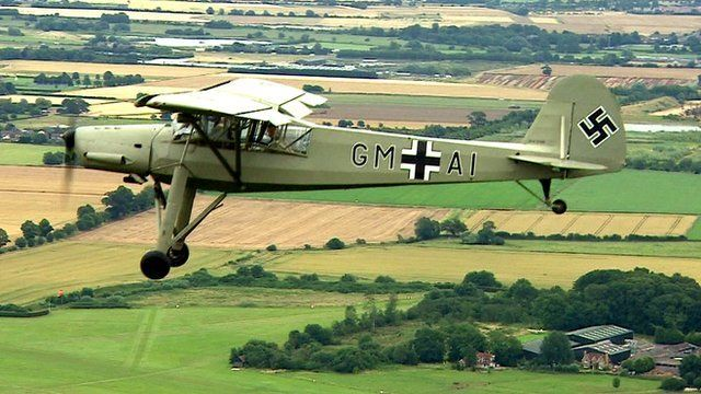 A 1942 Fieseler Storch, a German aircraft used in World War Two.