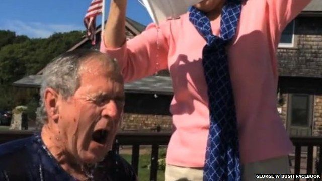 George W Bush takes Ice Bucket Challenge for ALS charity