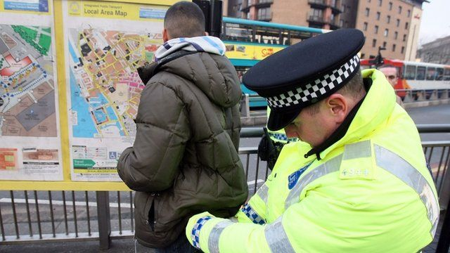 Police officer undertaking a stop and search