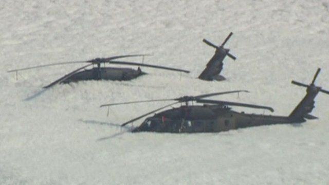 Helicopters covered in foam