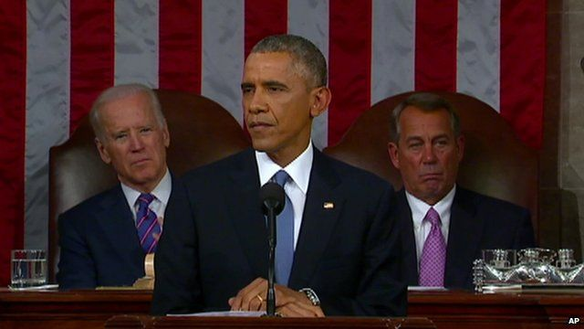 President Obama giving his State of the Union address