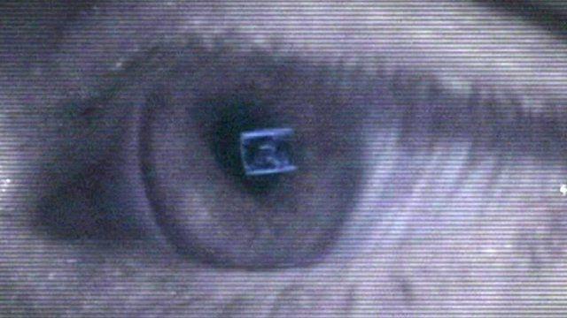 An eye looking at a computer