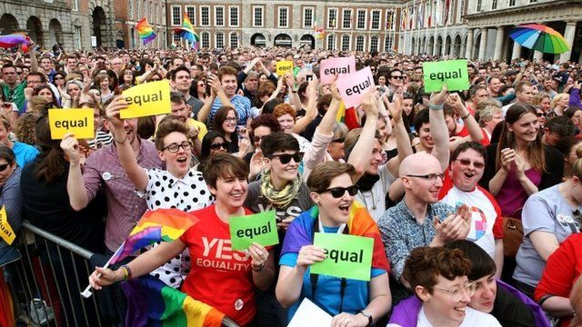 Yes supporters in Dublin