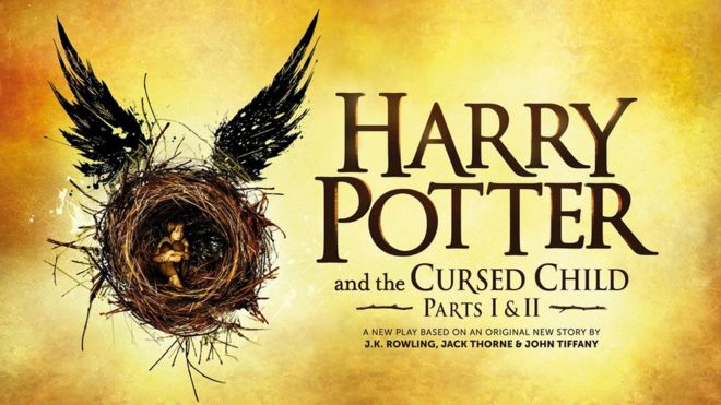 Harry Potter and the Cursed Child poster showing a picture of a boy in a nest with wings