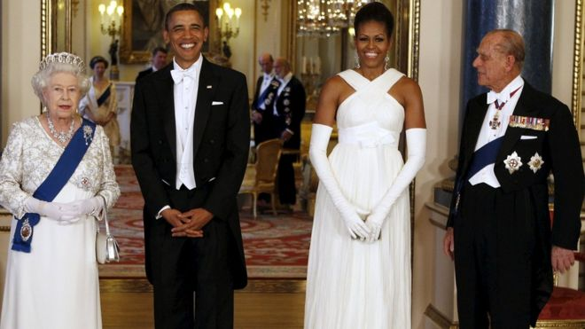 The Queen and the Duke of Edinburgh with Mr and Mrs Obama