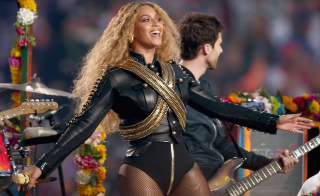 "Beyonce performs during Super Bowl 50 between the Carolina Panthers and the Denver Broncos at Levi""s Stadium in Santa Clara, California, on February 7, 2016."