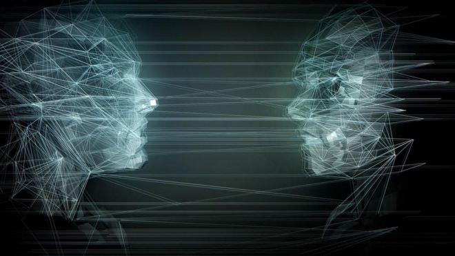 Dos rostros dibujados con cables de fibra óptica