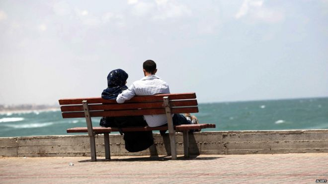 Couple on a beach in Gaza