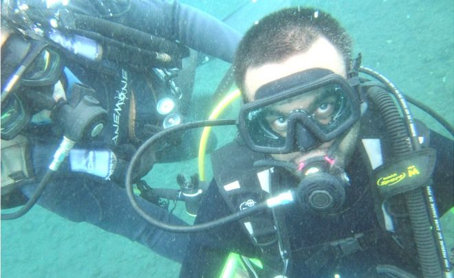 Srin Madipalli scuba diving in Bali