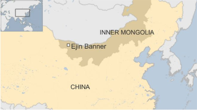 A map showing the Inner Mongolia region of China