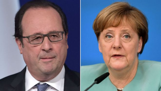 File images of Francois Hollande and Angela Merkel
