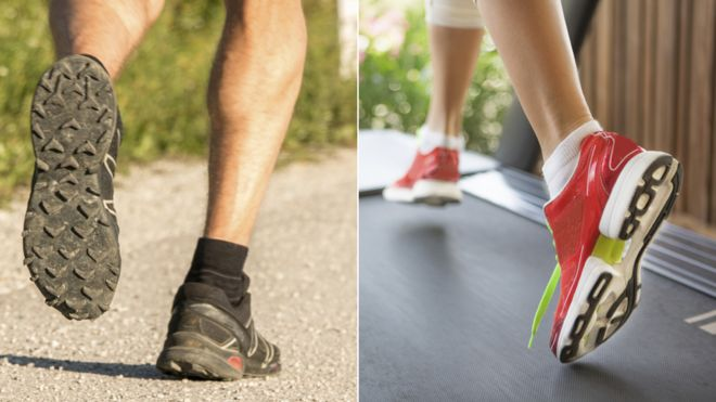 Composite photo: close-up of legs running on a road, and close-up of legs running on a treadmill