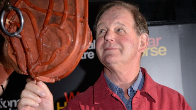 Michael Morpurgo with War Horse puppet