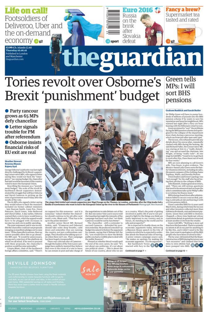 Guardian front page - 16/06/16