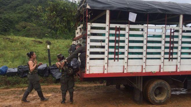 Guerrilleros de la columna móvil Teófilo Forero camino a la zona veredal próxima a San Vicente del Caguán, en el departamento del Caquetá.