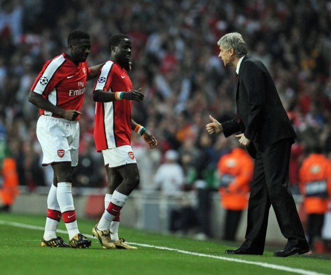 Kolo Toure, Emmanuel Eboue na Arsene Wenger