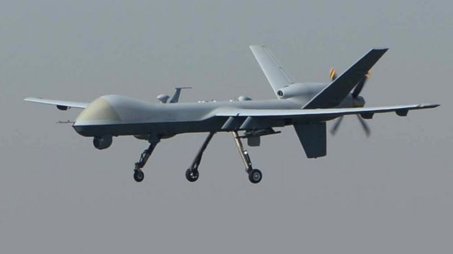 A US drone lands at Afghanistan's Jalalabad Airport, 2 October 2015