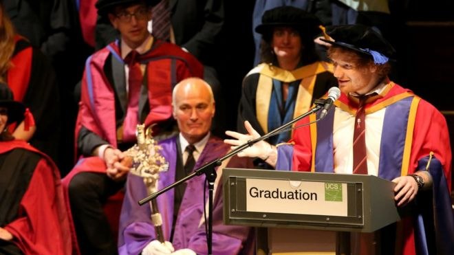Ed Sheeran receiving his honorary degree