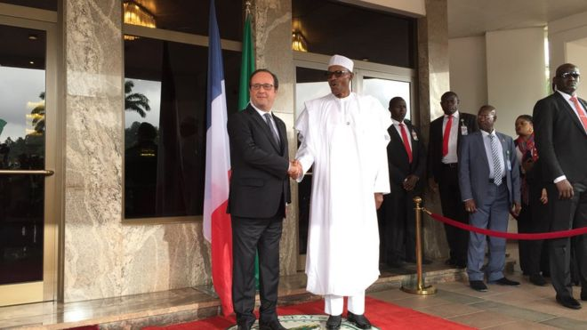France's President Hollande and Nigeria's president Muhammadu Buhari on Saturday morning
