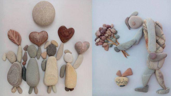 兩幅鵝卵石藝術品