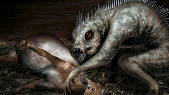 Una ilustración del Chupacabras con una de sus víctimas