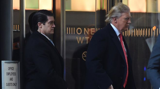 El presidente electo Donald Trump deja un World Trade Center