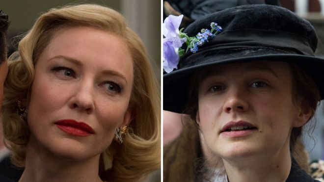 Cate Blanchett in Carol (left) and Carey Mulligan in Suffragette (right)