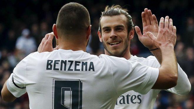 Real Madrid's Karim Benzema and Gareth Bale