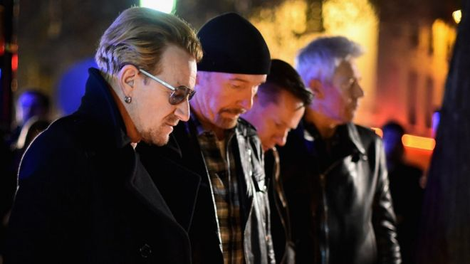 U2 outside the Bataclan concert hall in Paris