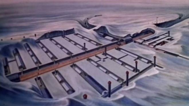 Esquema de un base militar bajo la nieve.