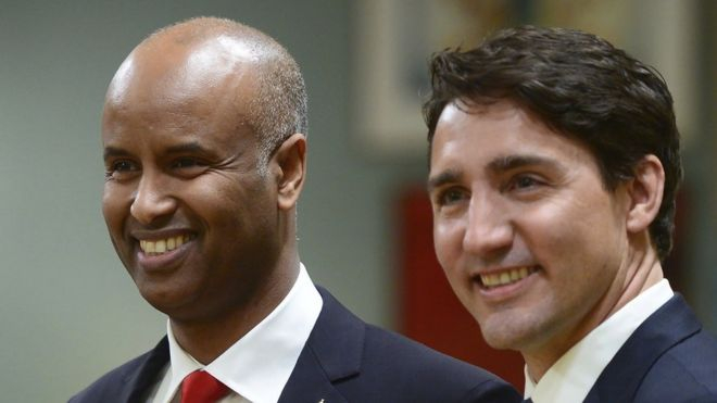 Ahmed Hussen and Justin Trudeau