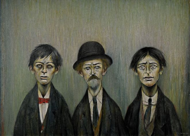 Father and Two Sons by LS Lowry