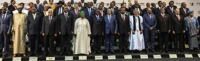 African leaders at an African Union summit in South Africa - June 2015