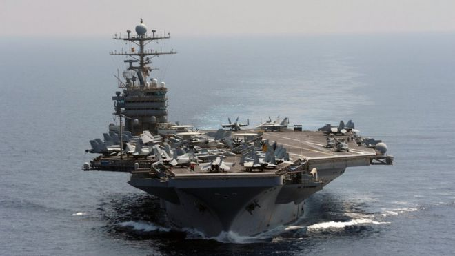 In this photo taken on Jan 18, 2012 and released by U.S. Navy, its aircraft carrier USS Abraham Lincoln transits the Indian Ocean