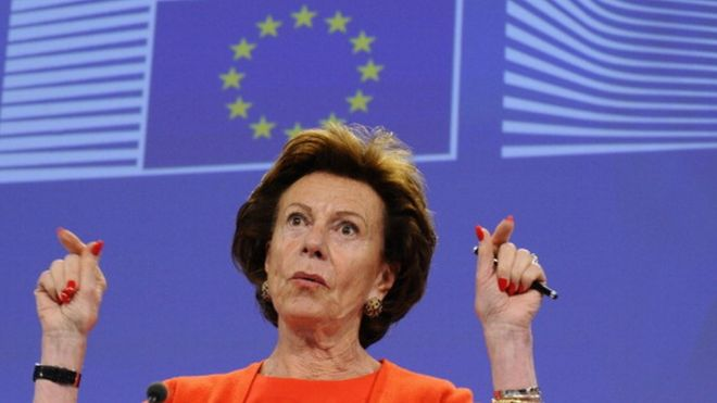Europe's Digital Agenda Commissioner Neelie Kroes during a press conference at the EU headquarters in Brussels (30 June 2014)