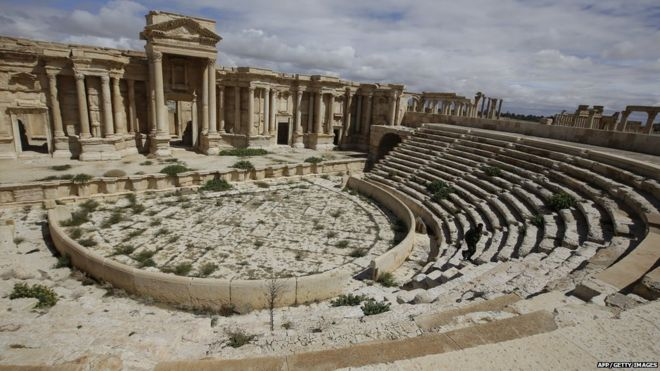 A picture taken on March 14, 2014 shows a partial view of the theatre at the ancient oasis city of Palmyra, 215 kilometres northeast of Damascus