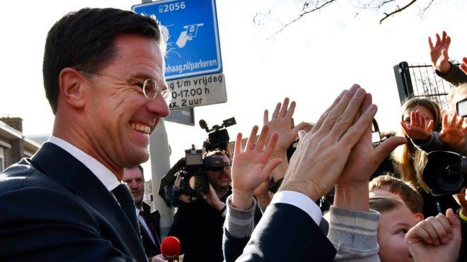 El primer ministro de Holanda, el conservador Mark Rutte, chocando la mano a niños.