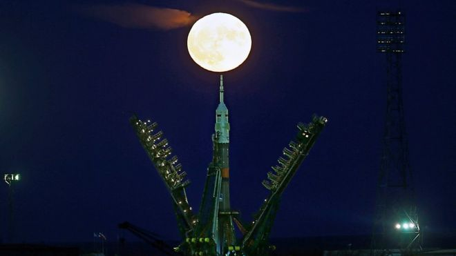 The Moon, or supermoon, rising behind the Soyuz MS-03 spacecraft at the launch pad at the Russian-leased Baikonur cosmodrome in Kazakhstan 14 November 2016