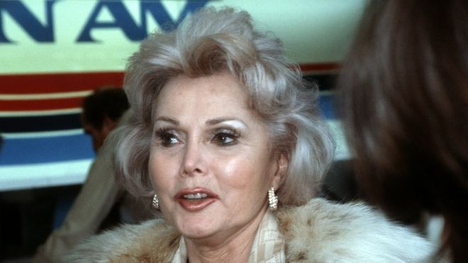 Zsa Zsa Gabor at London's Heathrow airport, June 1982