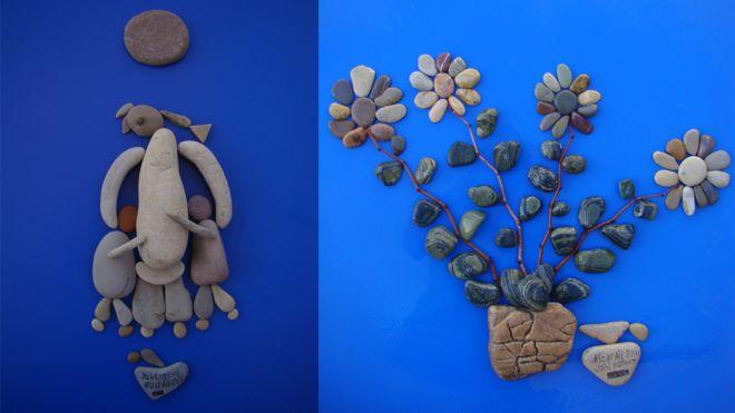 兩幅石頭藝術品