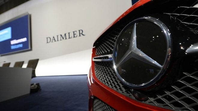 A Mercedes-Benz star is displayed prior to the annual press conference of German auto giant Daimler