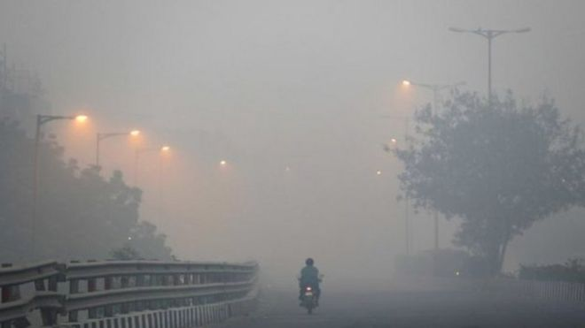 "The US embassy in Delhi said its air pollution index late on Sunday had breached the ""hazardous"" upper limit level of 500, at which it stops measuring levels of particulate matter."