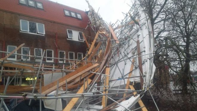 Collapsed scaffolding in Woodley
